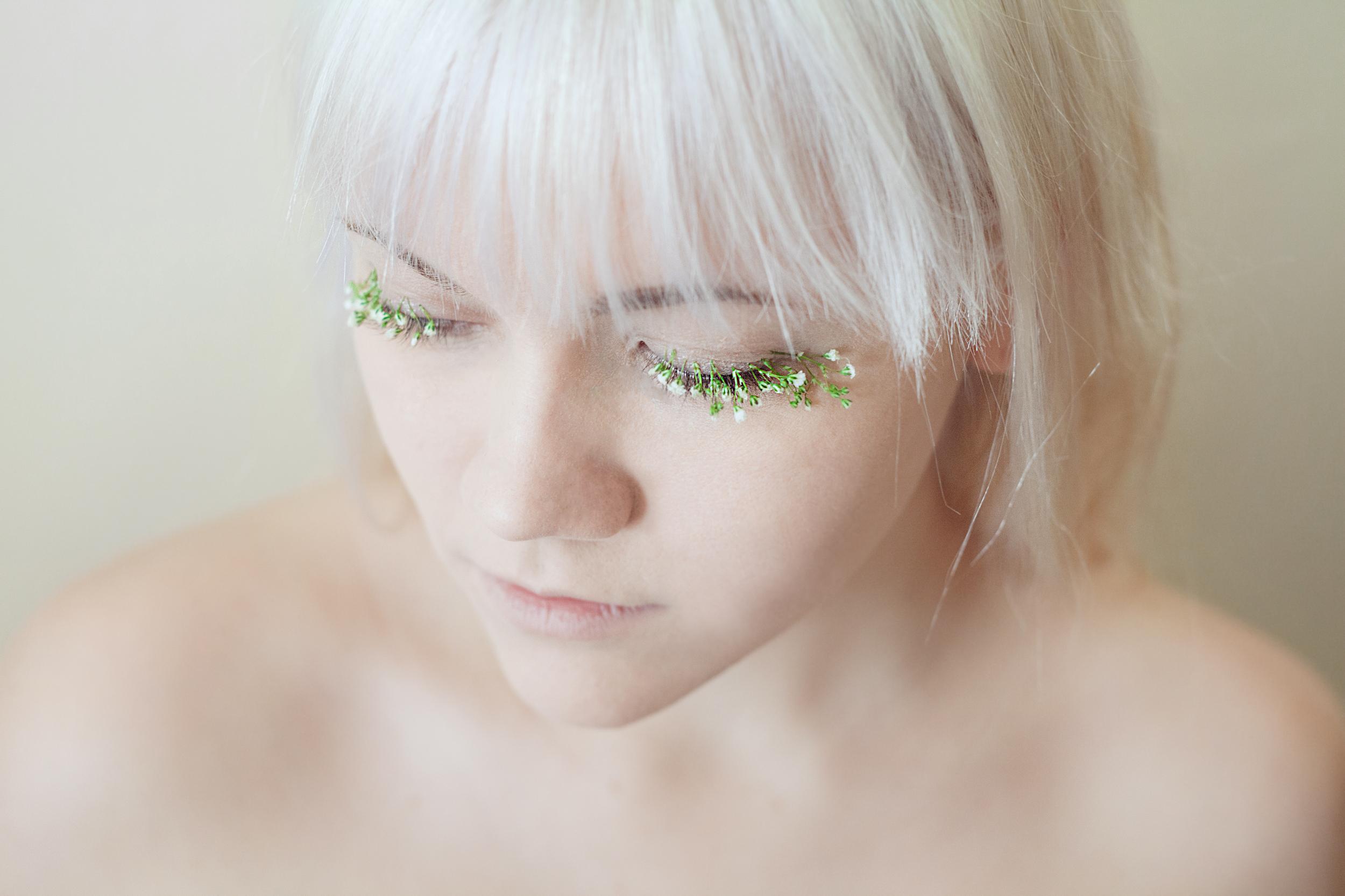 & Emma let me glue flowers to her eyelashes.