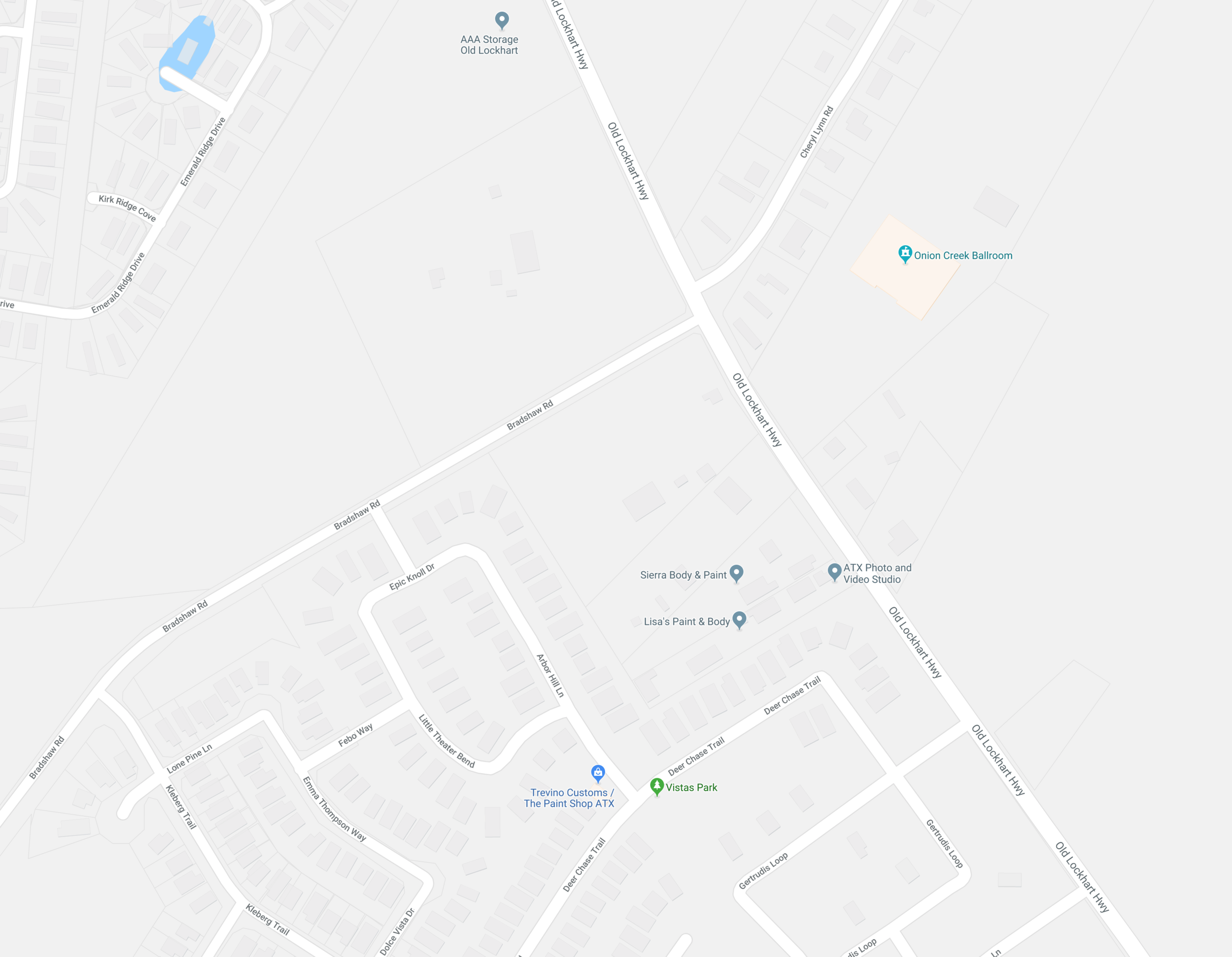 We are located on Old Lockhart Rd. Search for ATX Photo & Video Studio on Google Maps. Or in the same complex is Lisa's Body Shop and we are diagonally across the street from the Onion Creek Ballroom.