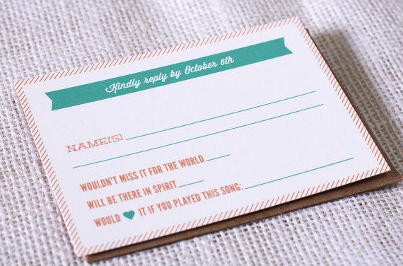 Another example of RSVP Card and Song Requests