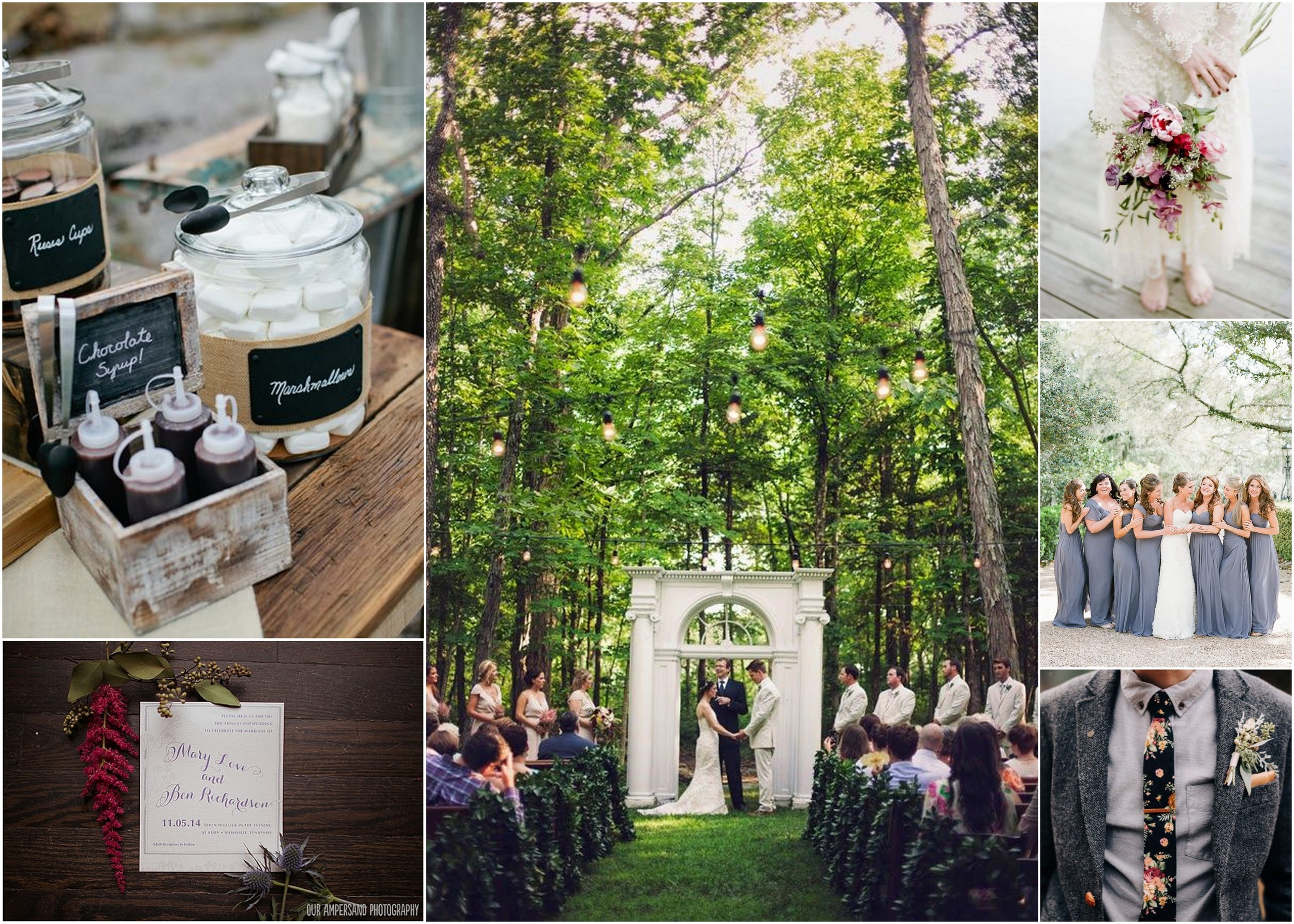 Photo credit: (TL)  Kristyn Hogan ; (BL)  Our Ampersand Photography ; (Center)  Krista Lee Photography ; (TR)  Jenna Henderson Photography ; (Middle) Southern Weddings Magazine ; (BR)  Green Wedding Shoes
