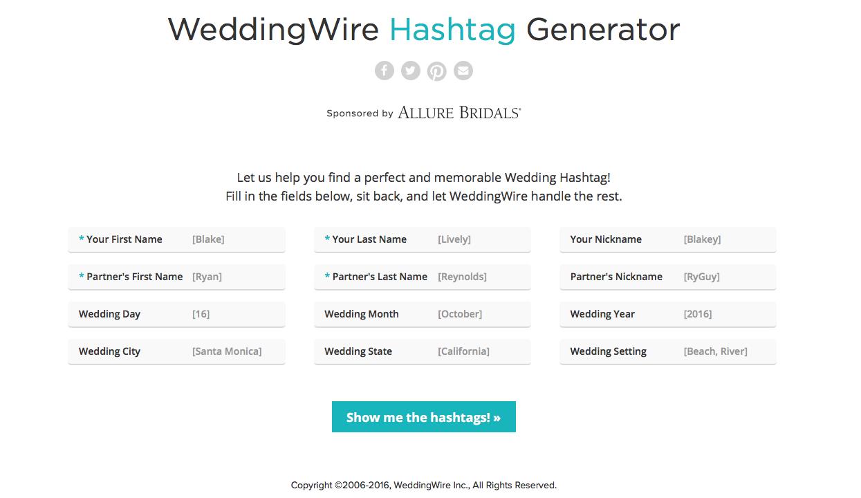 WeddingWire Wedding Hashtag Generator