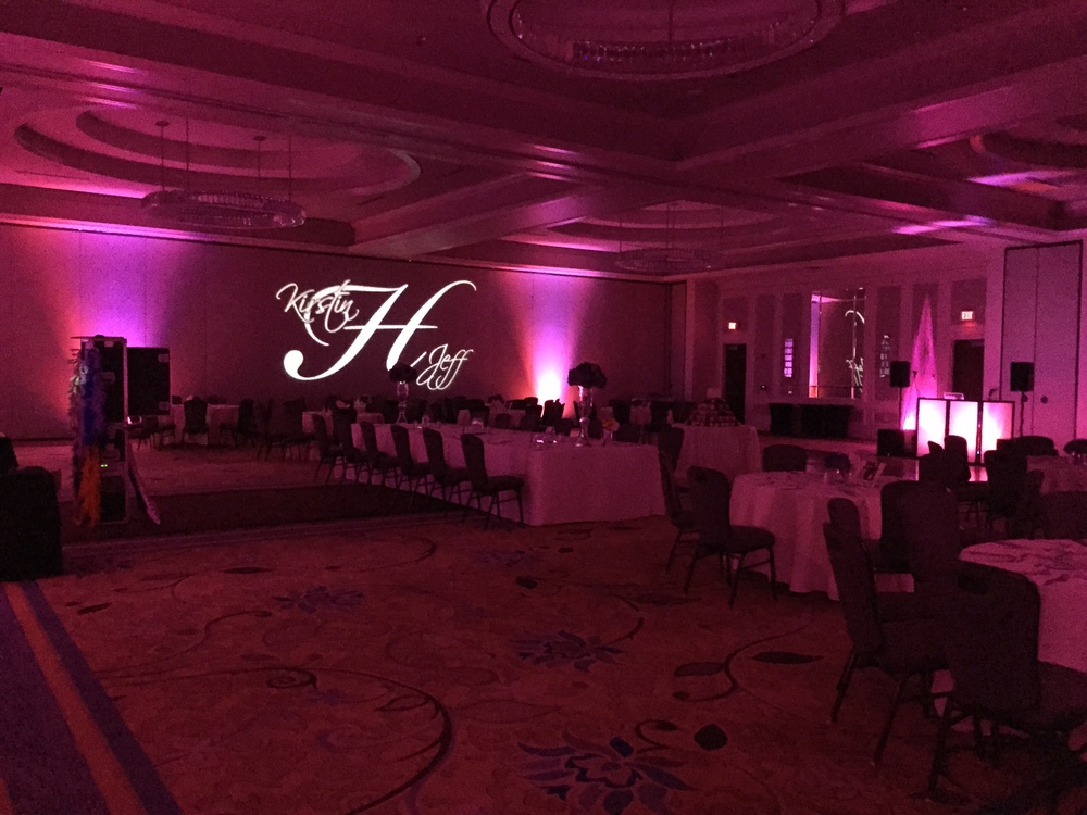 Combining our wireless, LED uplighting with a gobo light really helps to showcase the design.