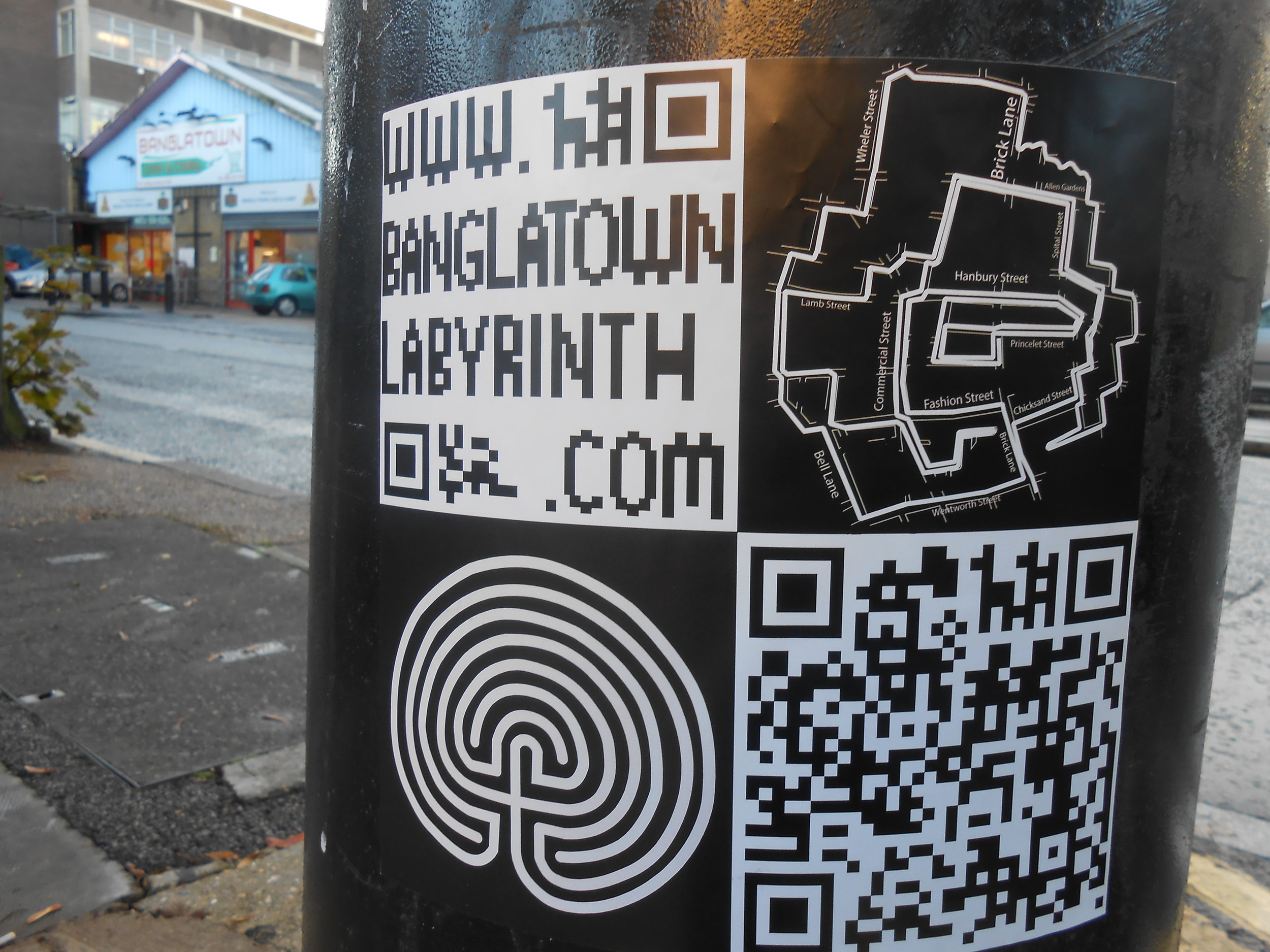 Stickers were placed on every possible surface along the Bang;atown Labyrinth route.