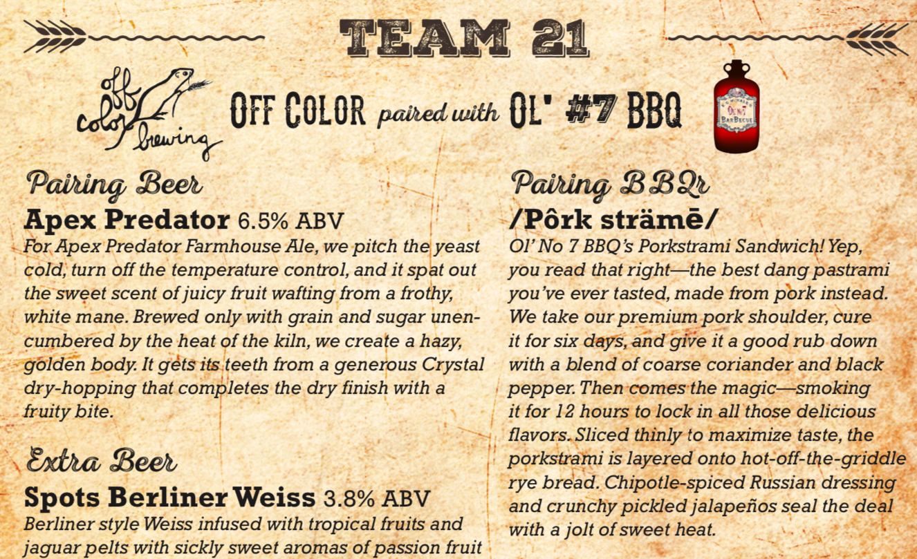 Off color brewing Ol number 7 beer and bbq challenge.png