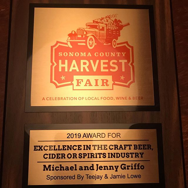 So honored to receive this incredible award for Excellence in the Craft Beer, Cider or Spirits Industry. This community is filled with incredible makers who are creating gorgeous products with passion, responsibility and true craft. Thank you for seeing our hard work! We love you forever Sonoma County! #sonomacountyharvestfair #griffodistillery