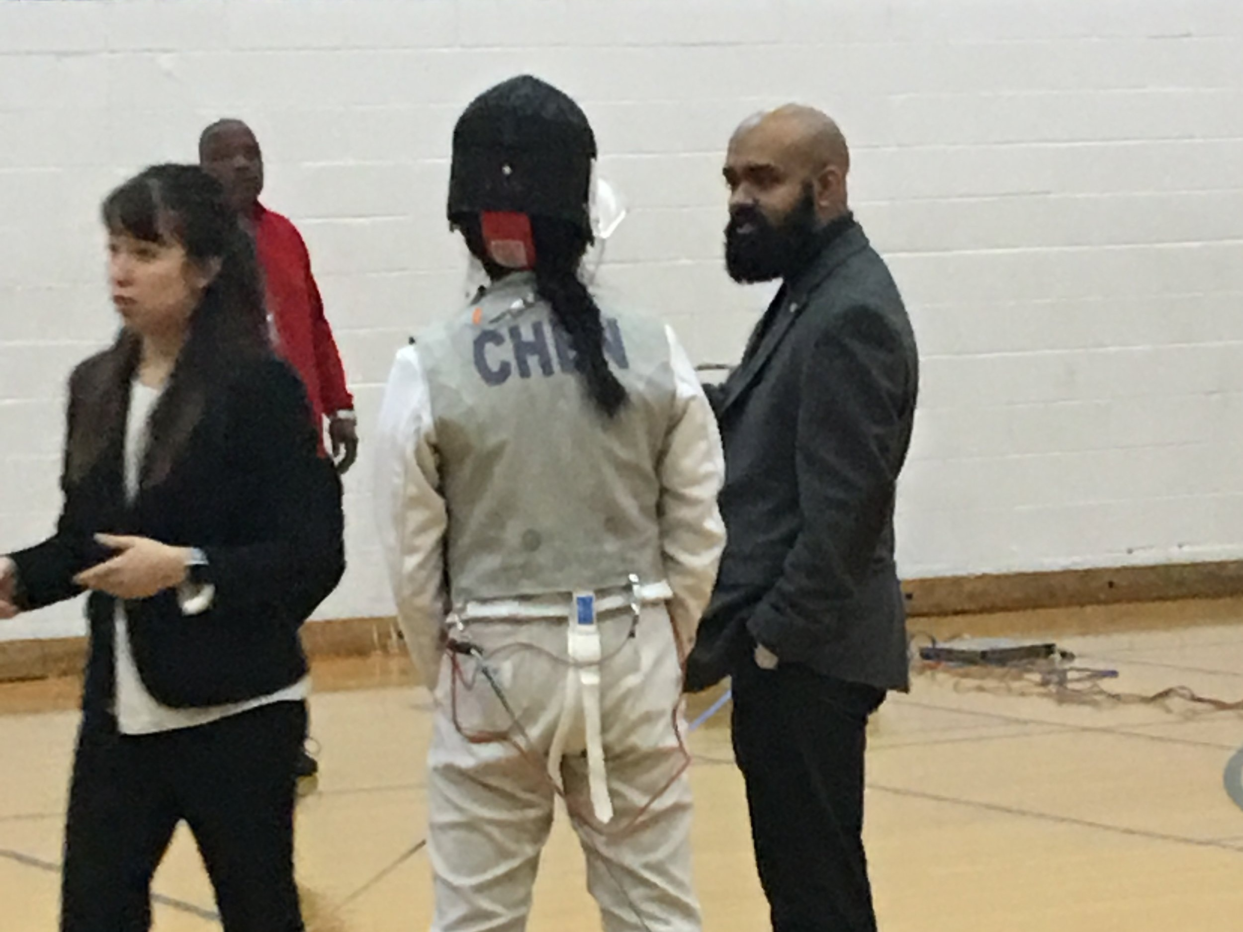 Coach Uddin and Foil Girls — District 5 @ MHS 27 Jan 2019