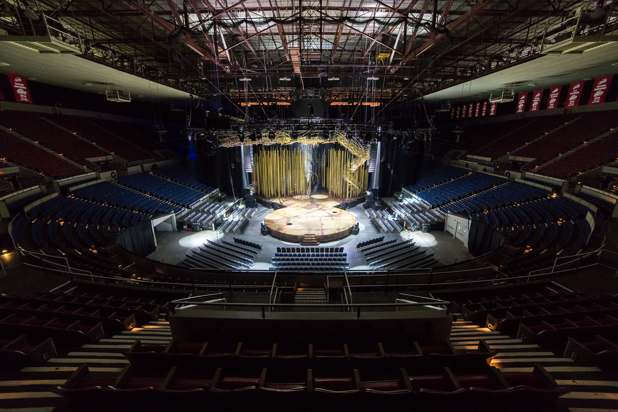 Cirque du Soleil Stage and Rigging in the Veterans Memorial Coliseum.                                                                                    Photo:  Justin Brady