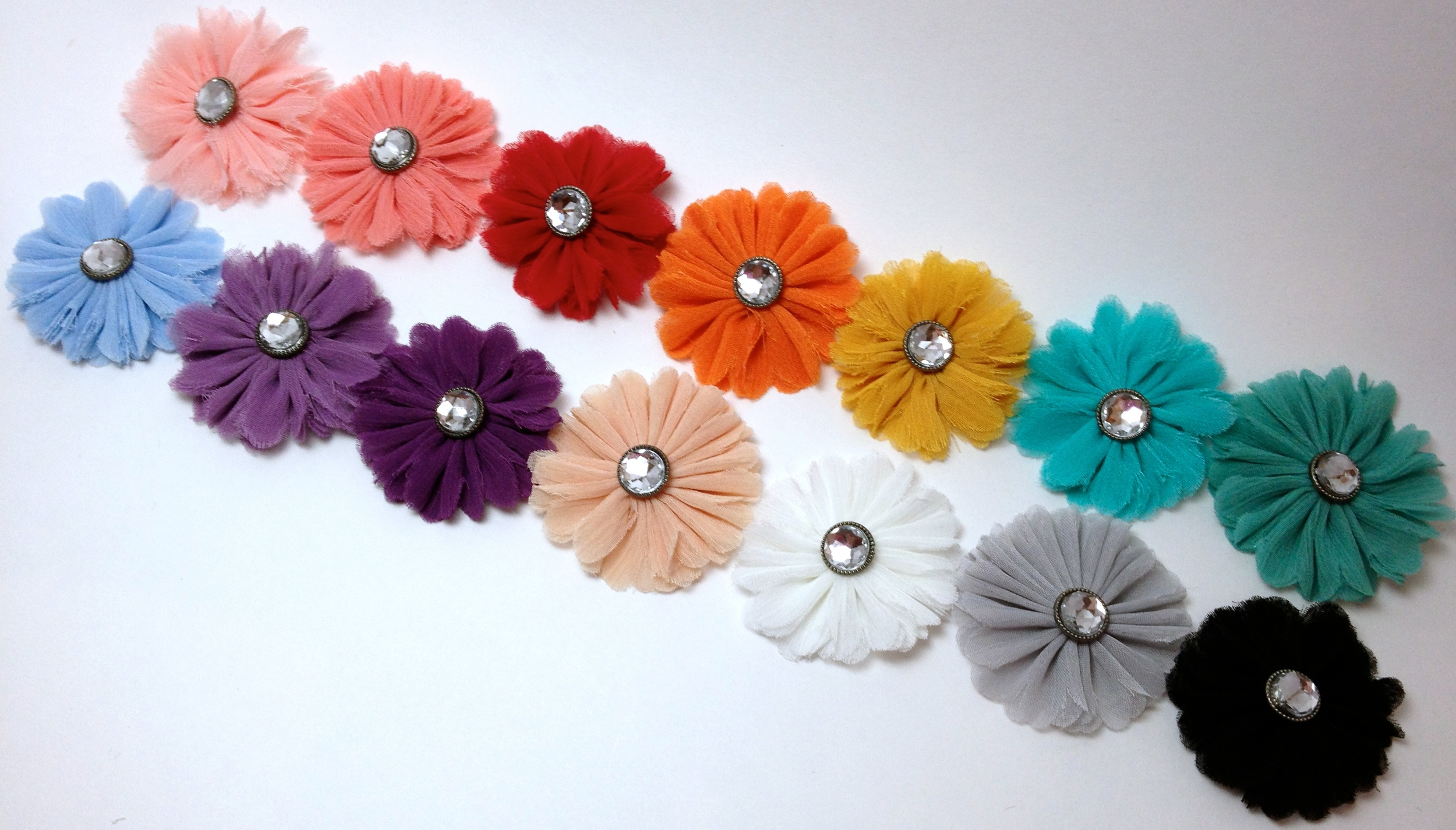 Mini Chiffon Flower [attached to a partially lined alligator clippie]. $4 each