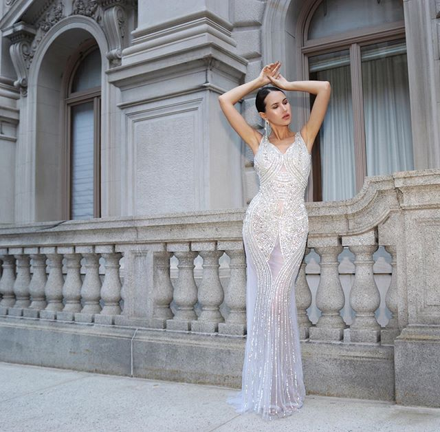 💎NYFW after party ready💎  Silver mesh beaded and crystalized gown by @portiaandscarlett via @newyorkdress