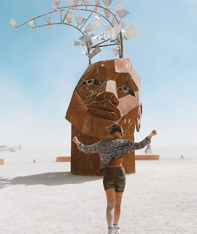 """Larry Harvey and Jerry James, founders of the festival; were two friends from San Francisco. One day Harvey calls Jerry and says """"Let's... let's burn a man, Jerry."""" So two friends built an 8 ft tall effigy made of scrap lumber and burnt it on the beach of San Francisco! )^("""