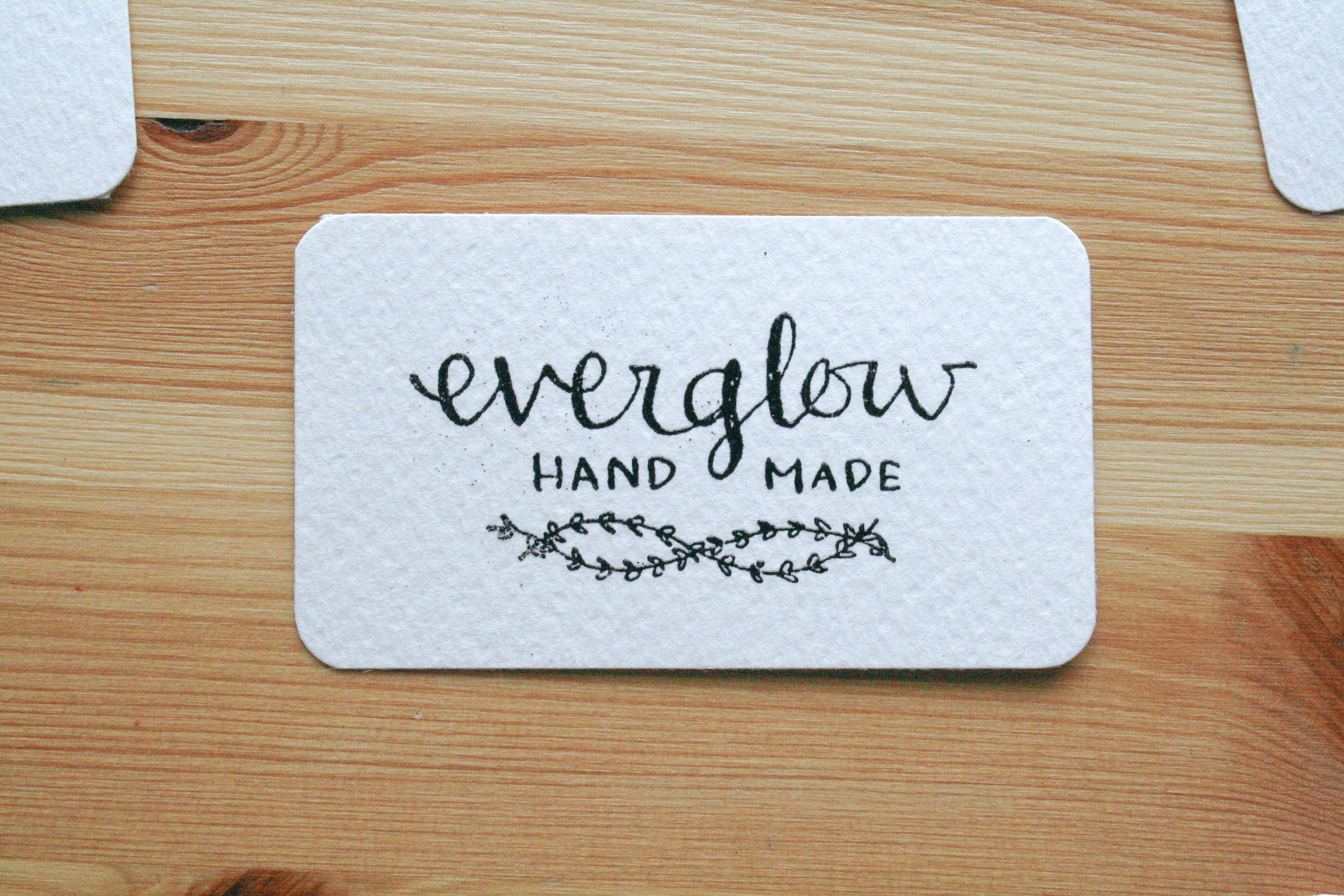 everglow handmade embosssed business cards