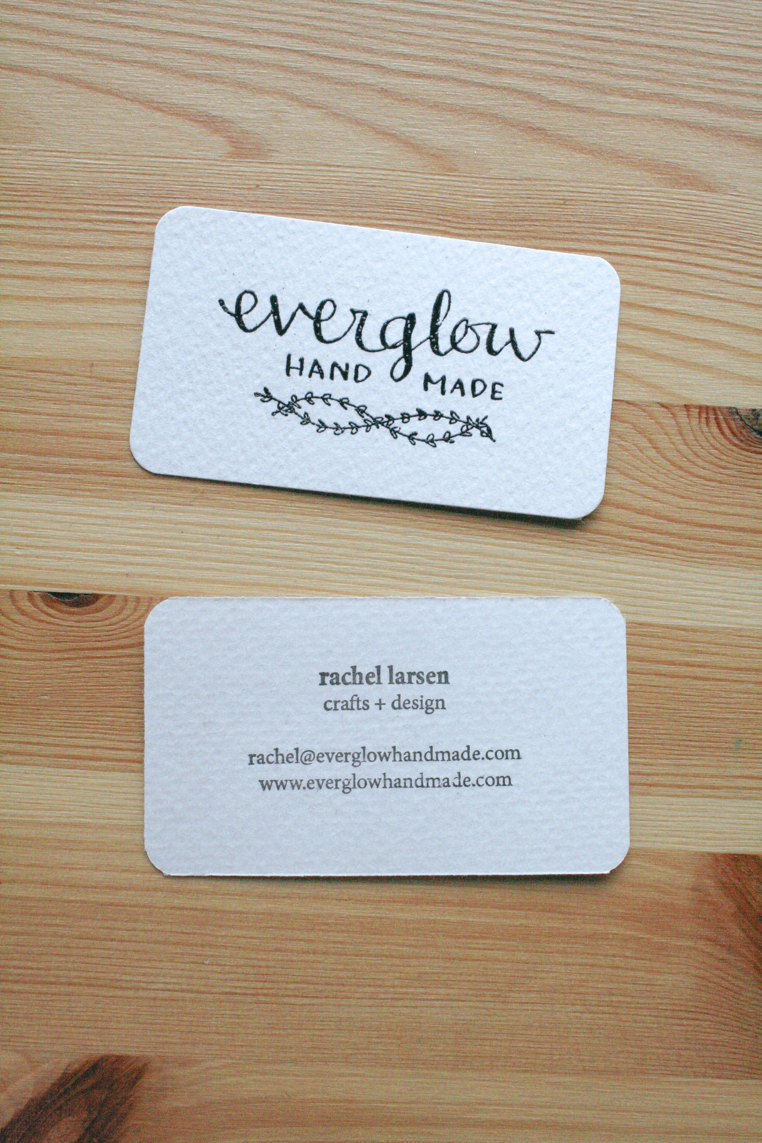 everglow handmade business cards embossed custom order