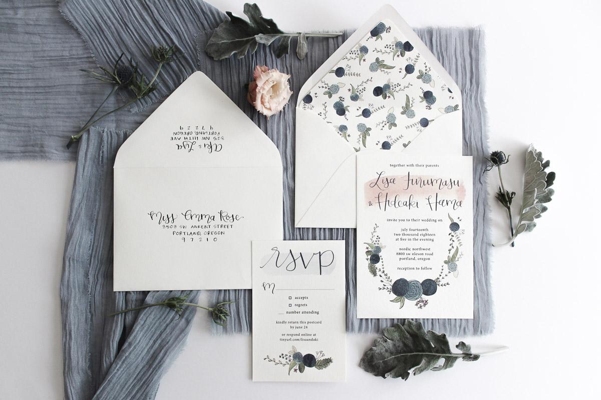 custom calligraphy invitation suite lisa & aki 2