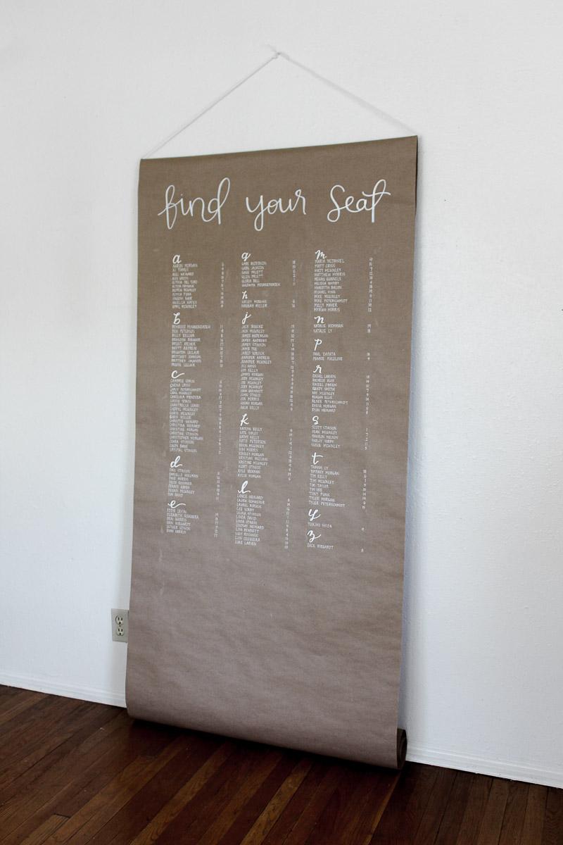 kraft paper seating chart custom calligraphy 2