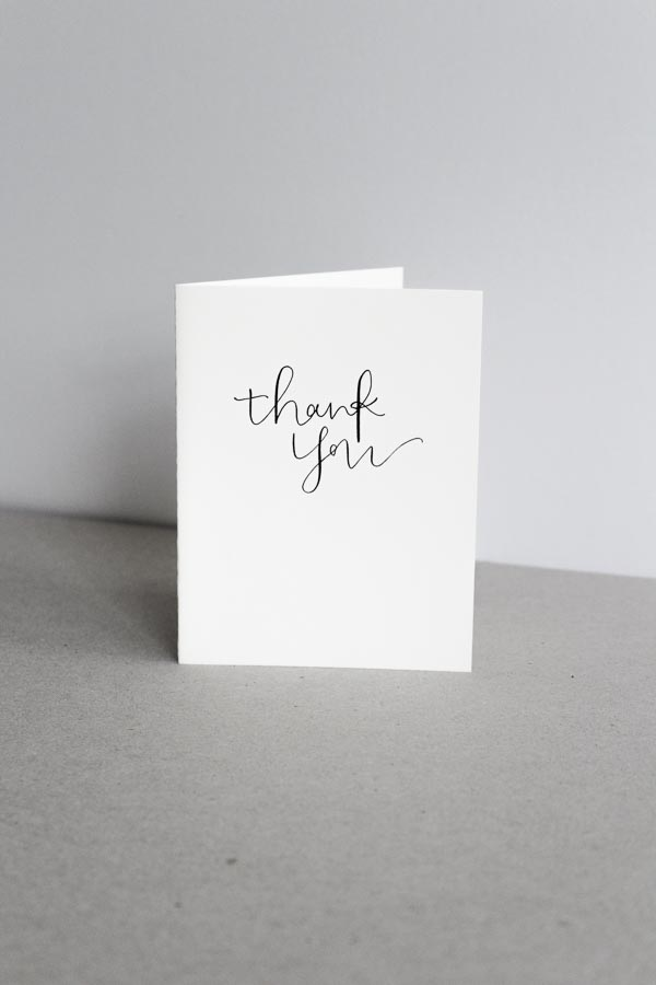 modern calligraphy card thank you