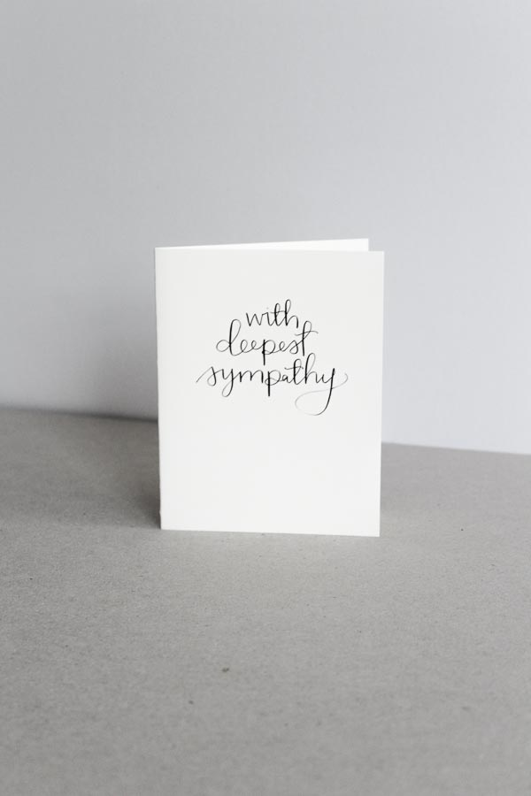 modern calligraphy card sympathy