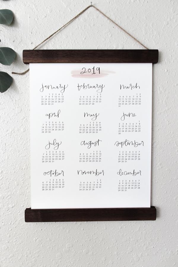 2019 calligraphy calendar