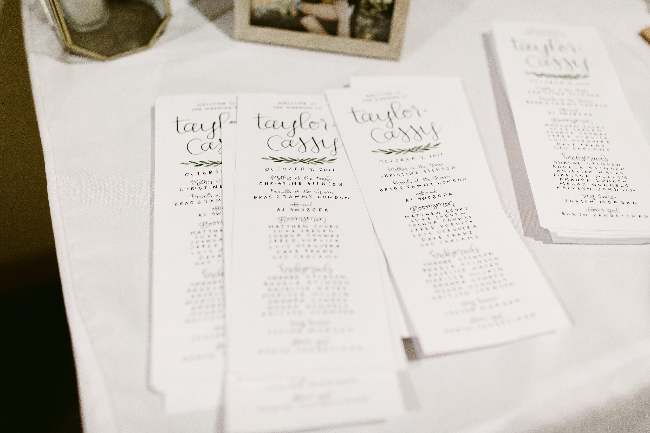 london wedding calligraphy