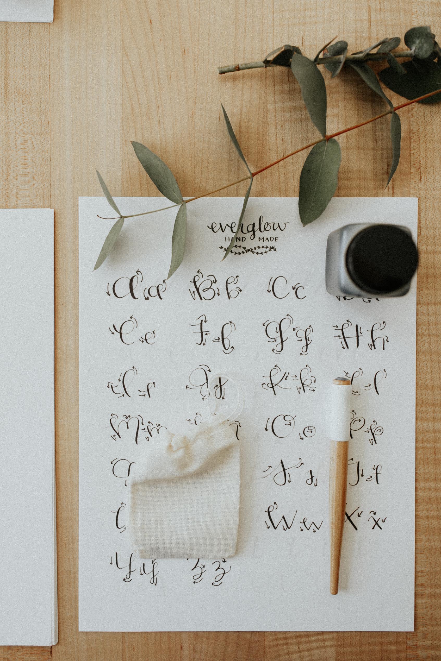 everglow handmade intro to modern calligraphy workshops portland oregon