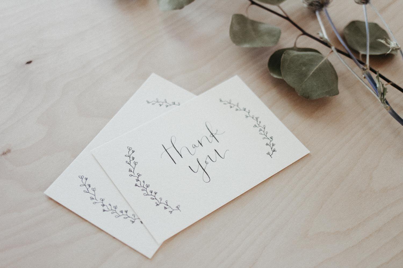 everglow handmade custom thank you card