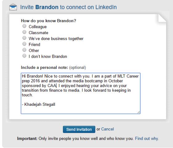 LinkedIn Custom Connect Message