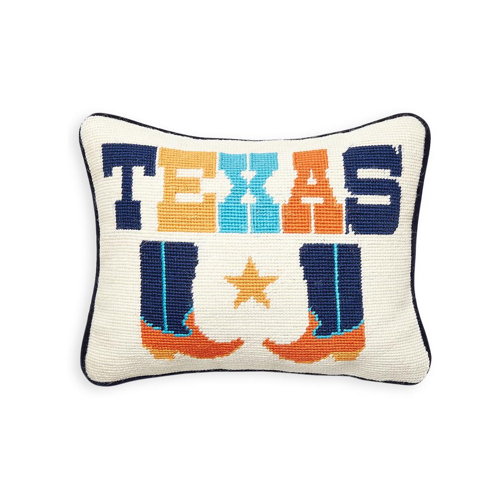 Texas Jet Set Needlepoint Pillow by Jonathan Adler