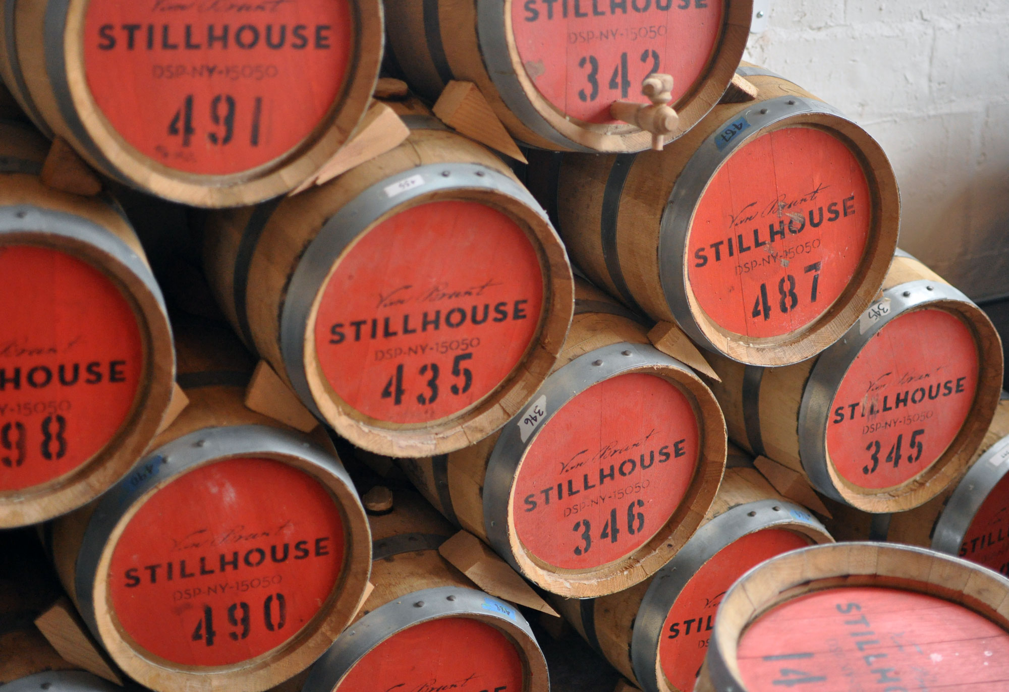 Van Brunt Stillhouse aging barrels