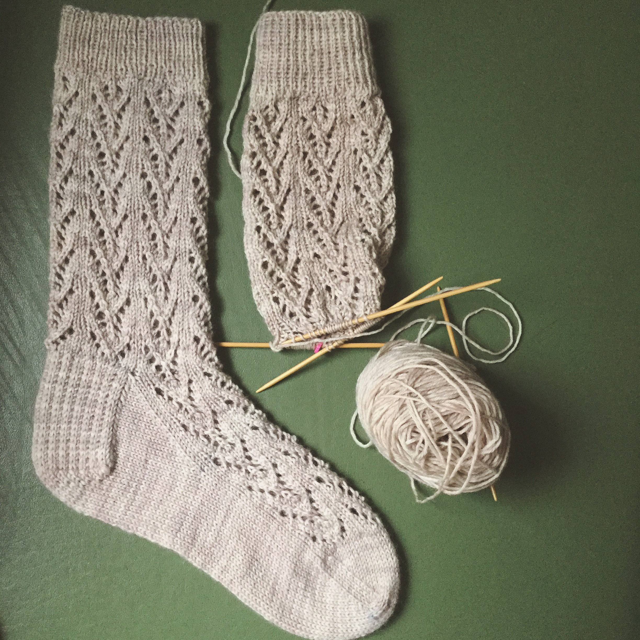 In progress Flying Arrow socks