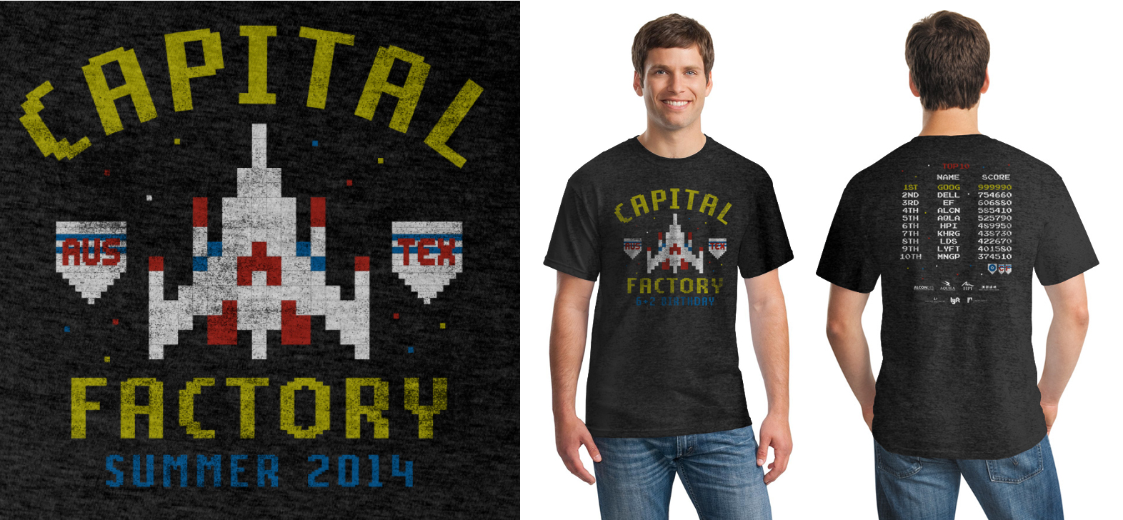 """We had an arcade themed party and riffed on my favorite game — Galaga. We were able to make the big list of sponsors look cool by integrating it into the """"high score list"""" on the back of the shirt."""