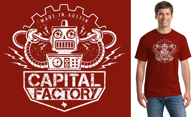 The original robot shirt was popular, so in the next revision we simplified it a bit and put the cables running into the robot's head to acknowledge the recent Google Fiber announcement in Austin.