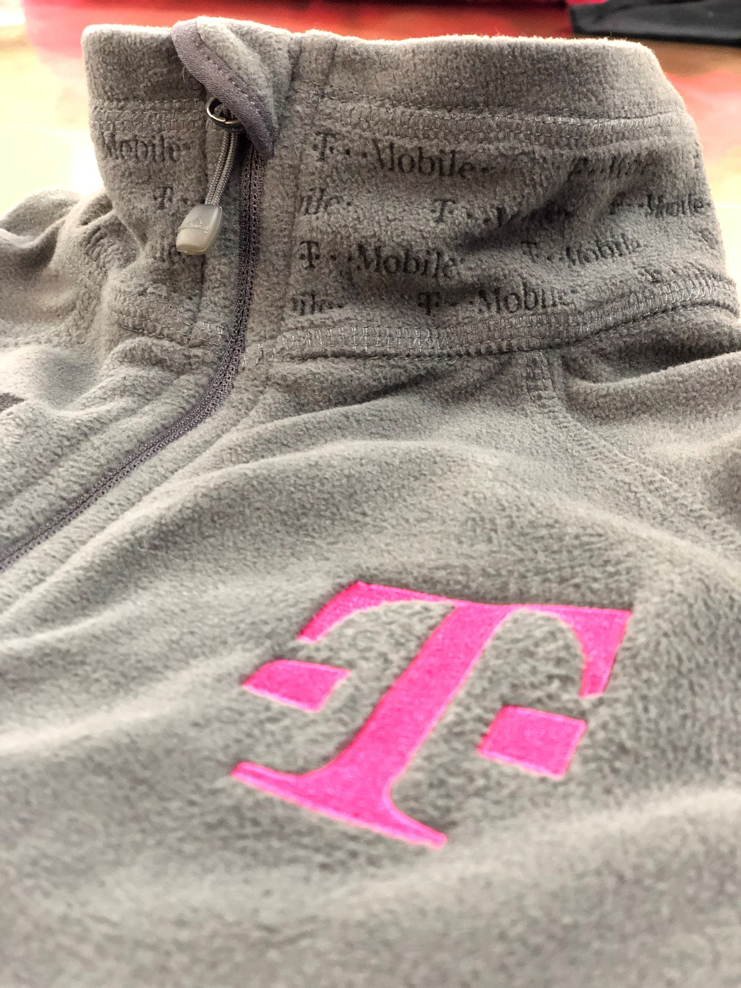 Left Chest Embroidery and Laser Etching on Collar for T-Mobile