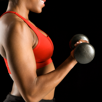 Woman lifting dumbbell.