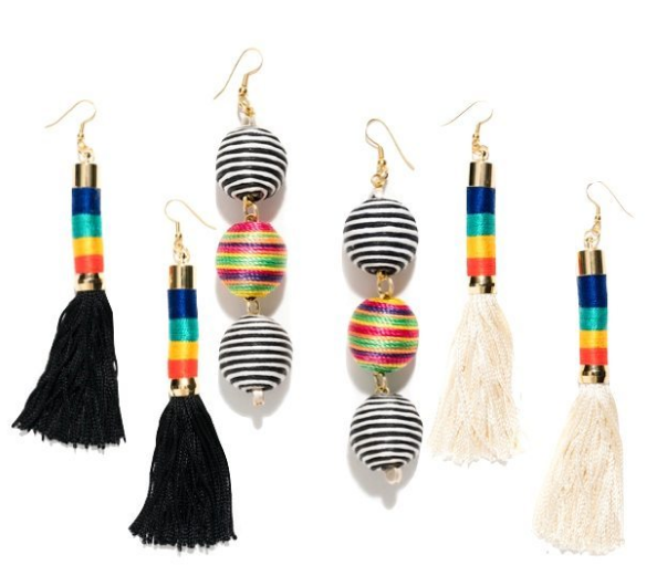 tassel and ball earrings - They made their debut in 2016 and have taken center stage in 2017. I like these from made in brooklyn designer @hostlandlee