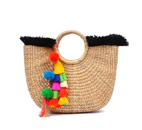 basket purse + pom poms - Channel your inner Hampton's chick. . Great for the beach or everyday use.I adore this one from @jadetribe