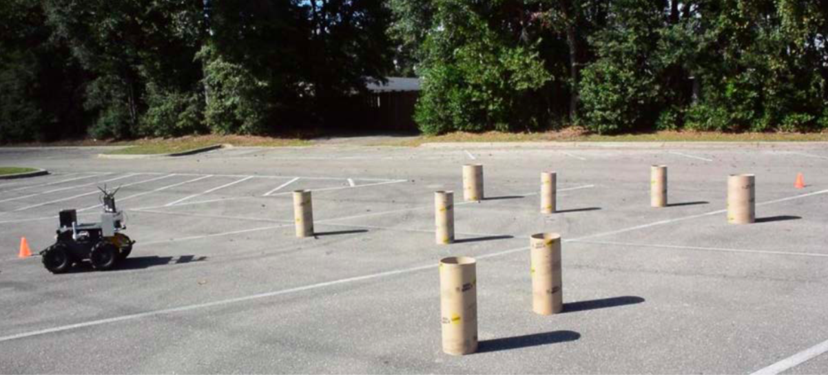 FIG 2. Representative obstacle course layout. The goal position is marked by an orange cone.