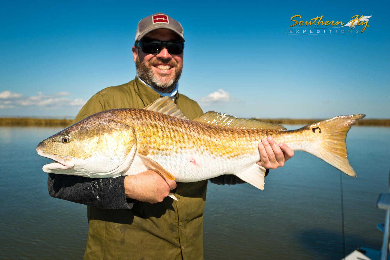 Louisiana bull redfish on fly