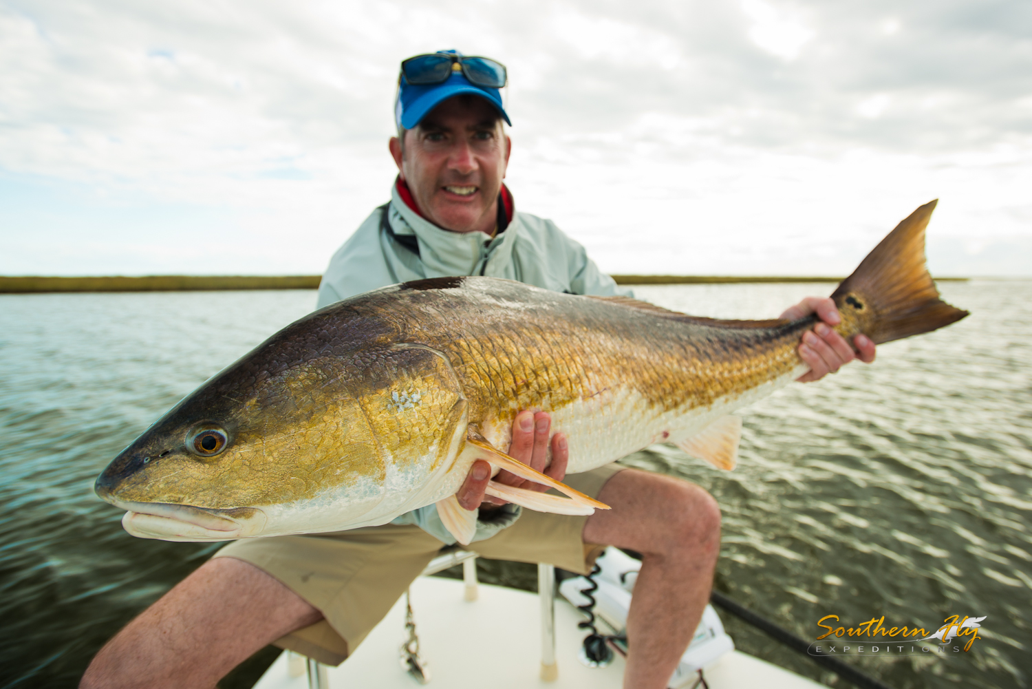 Fly Fishing for monster redfish in the louisiana marsh area with Southern Fly Expeditions