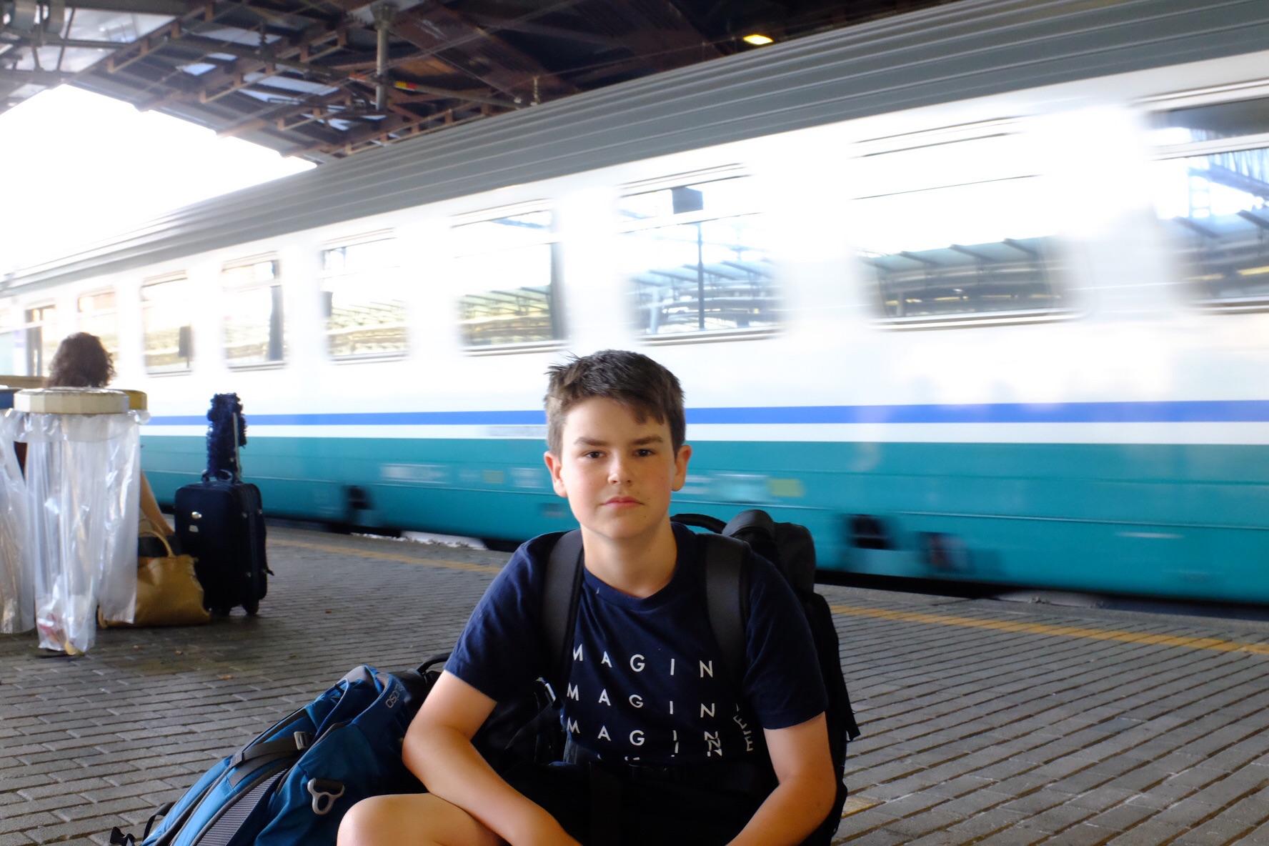 Waiting for our train at Tiburtina