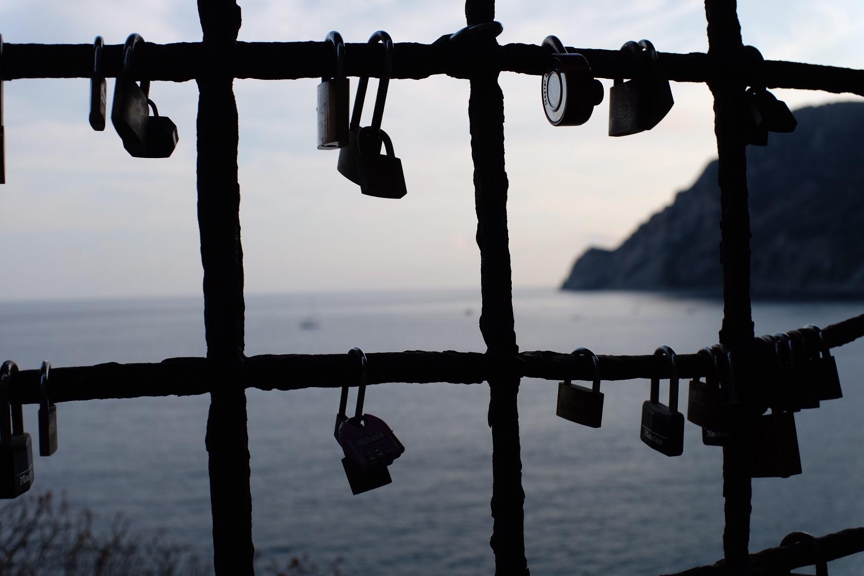Lovers' locks high above the Ligurian Sea