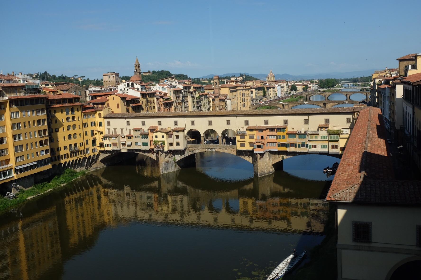 Ponte Vecchio bridge from Uffizi second floor