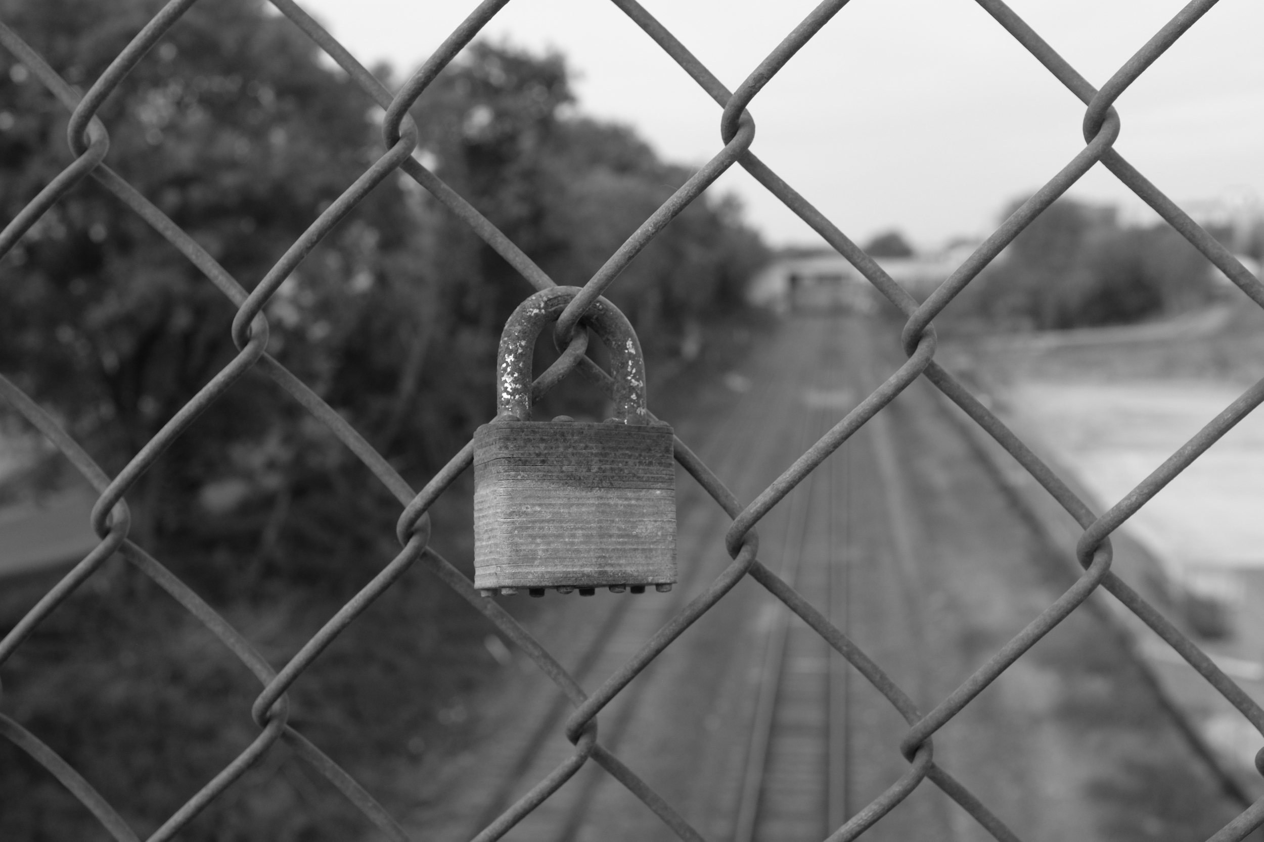 Rusty, lonely lovers' lock