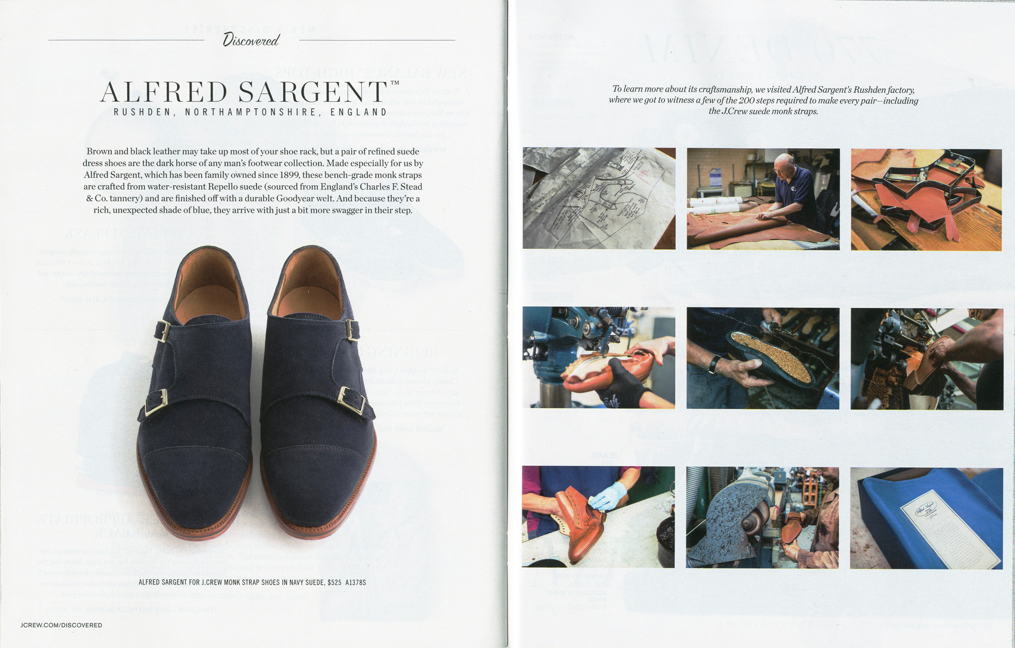 Alfred Sargent X J Crew - 'Midnight Suede Double Monk'