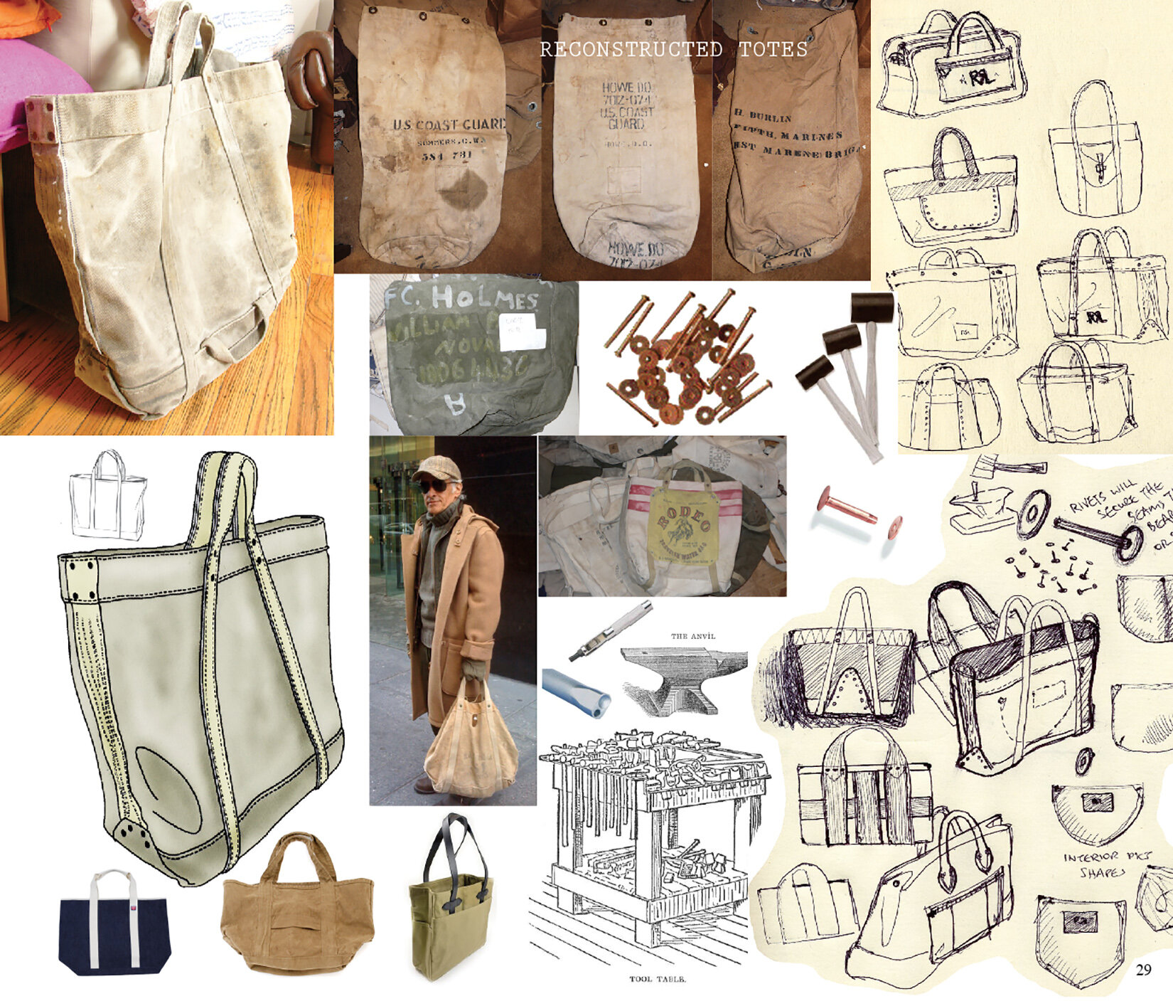 Early drawings for RRL Vintage Tote