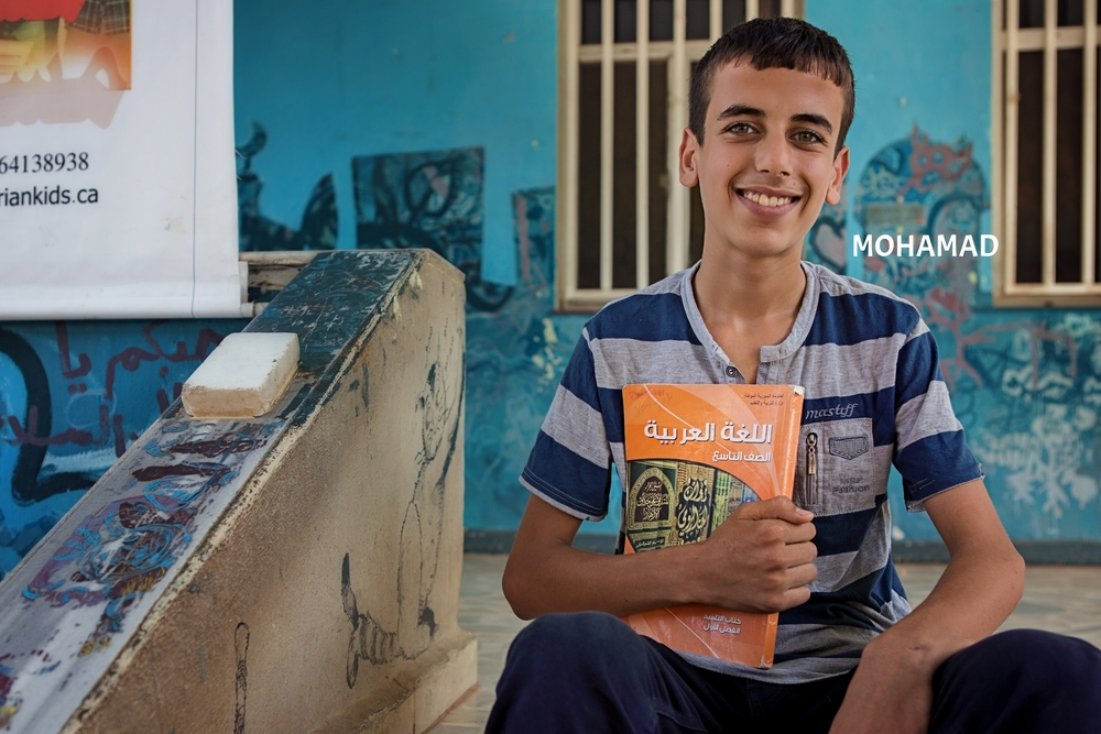 Mohamad  lost his father in 2001 in Aleppo, and in 2014 his home was destroyed by a bomb. When we met him in April 2015, 13 year old Mohamad was working in a mechanic shop to support his family. After taking him out of child-labor and sending him back to school, Mohamad found his passion for Math. Read more about how he and his siblings are now doing in school.