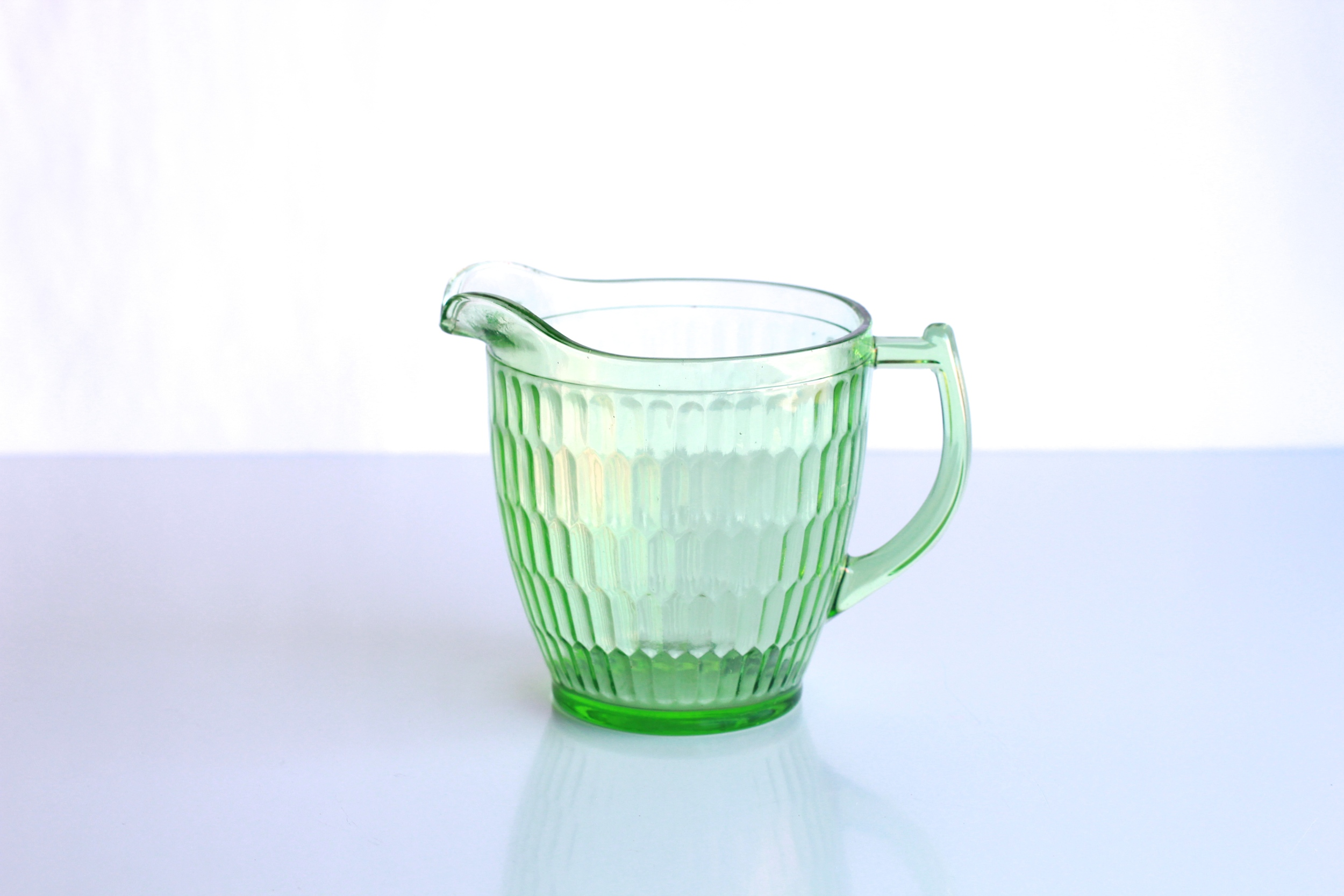 Green Vasoline Glass Pitcher