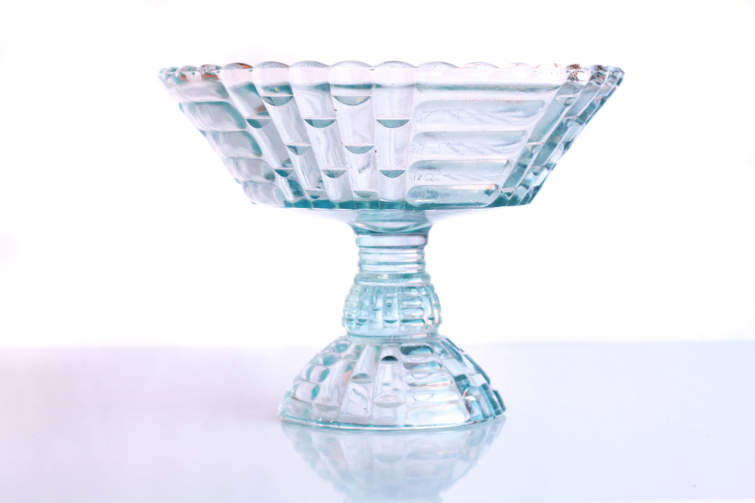 Light Blue Glass Compote