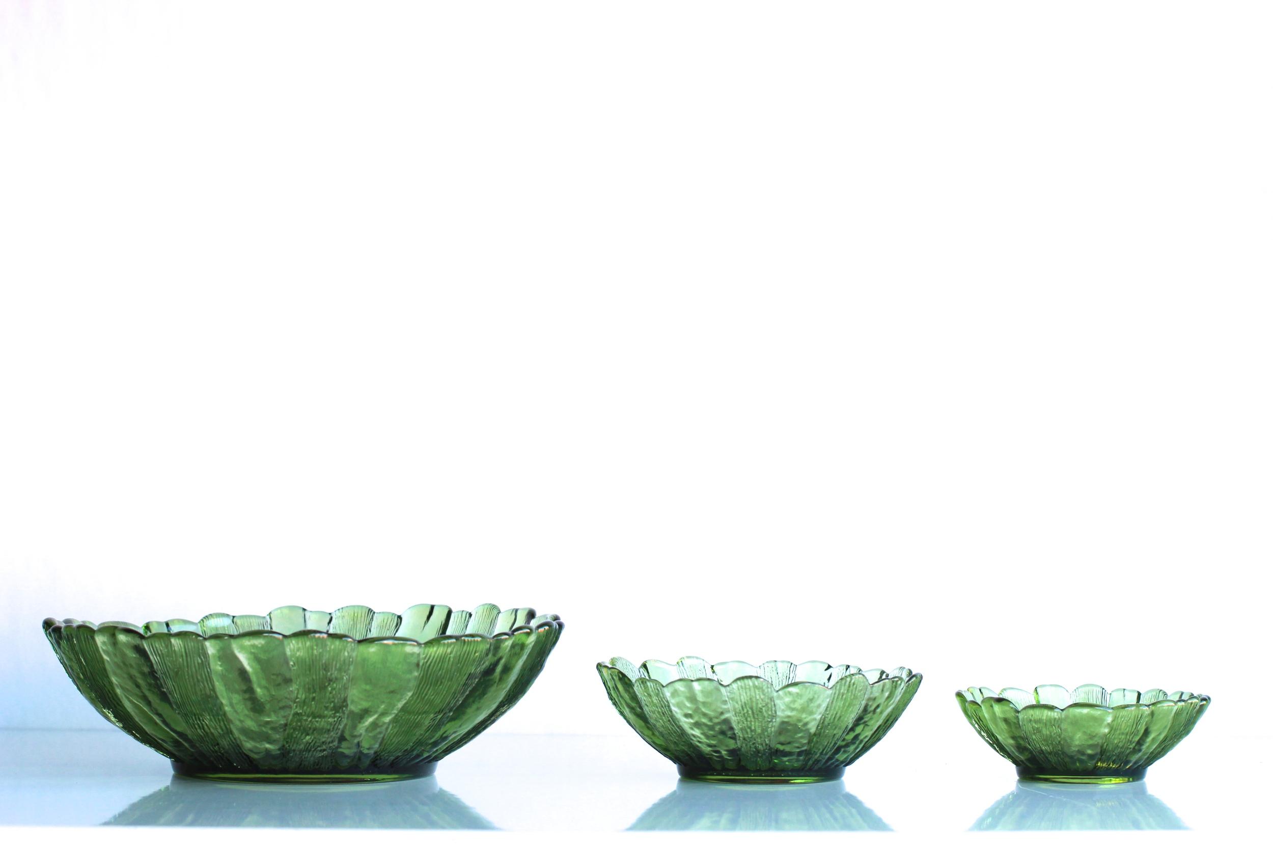 Green Glass Serving Bowls