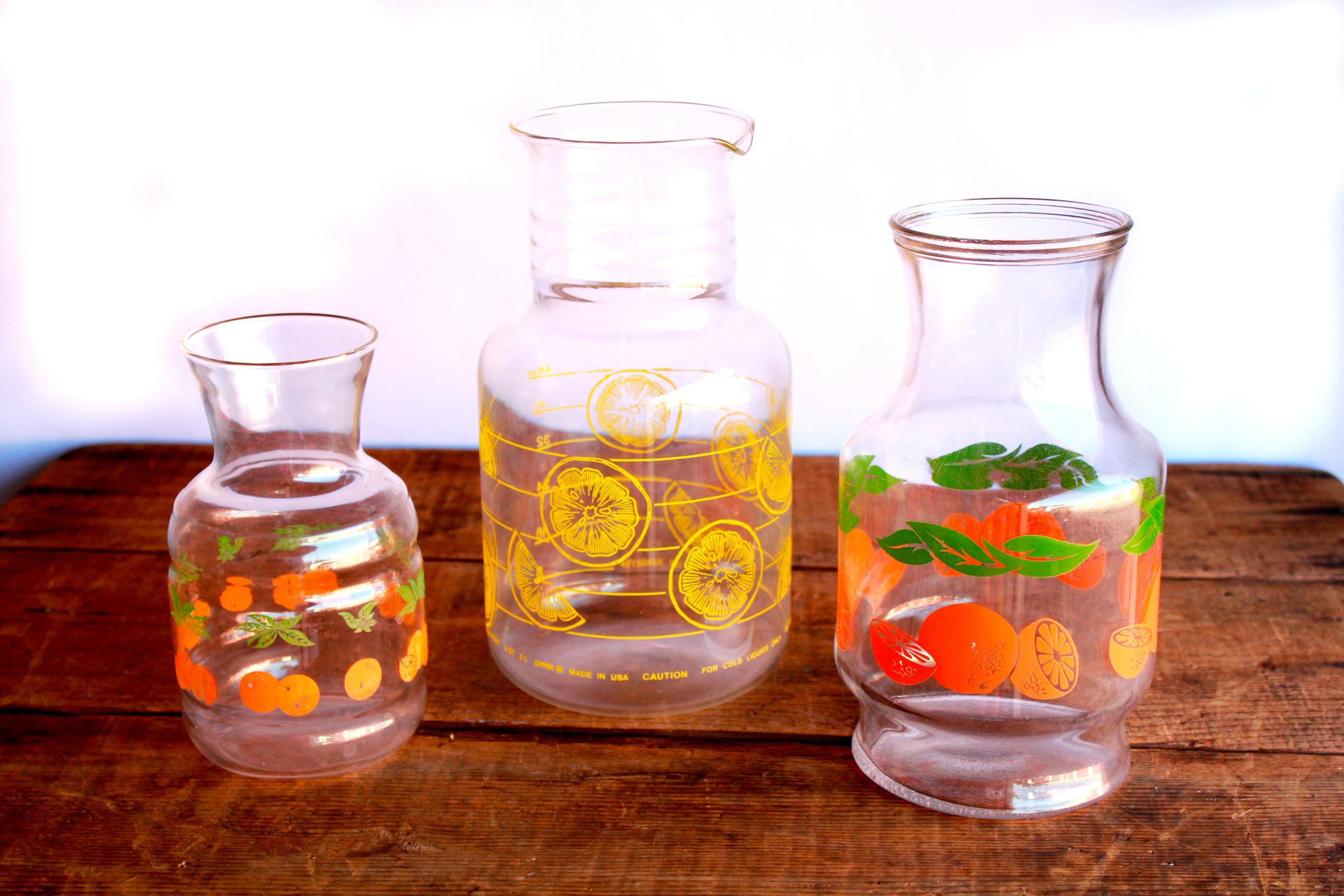 Retro Orange + Lemon Pitchers
