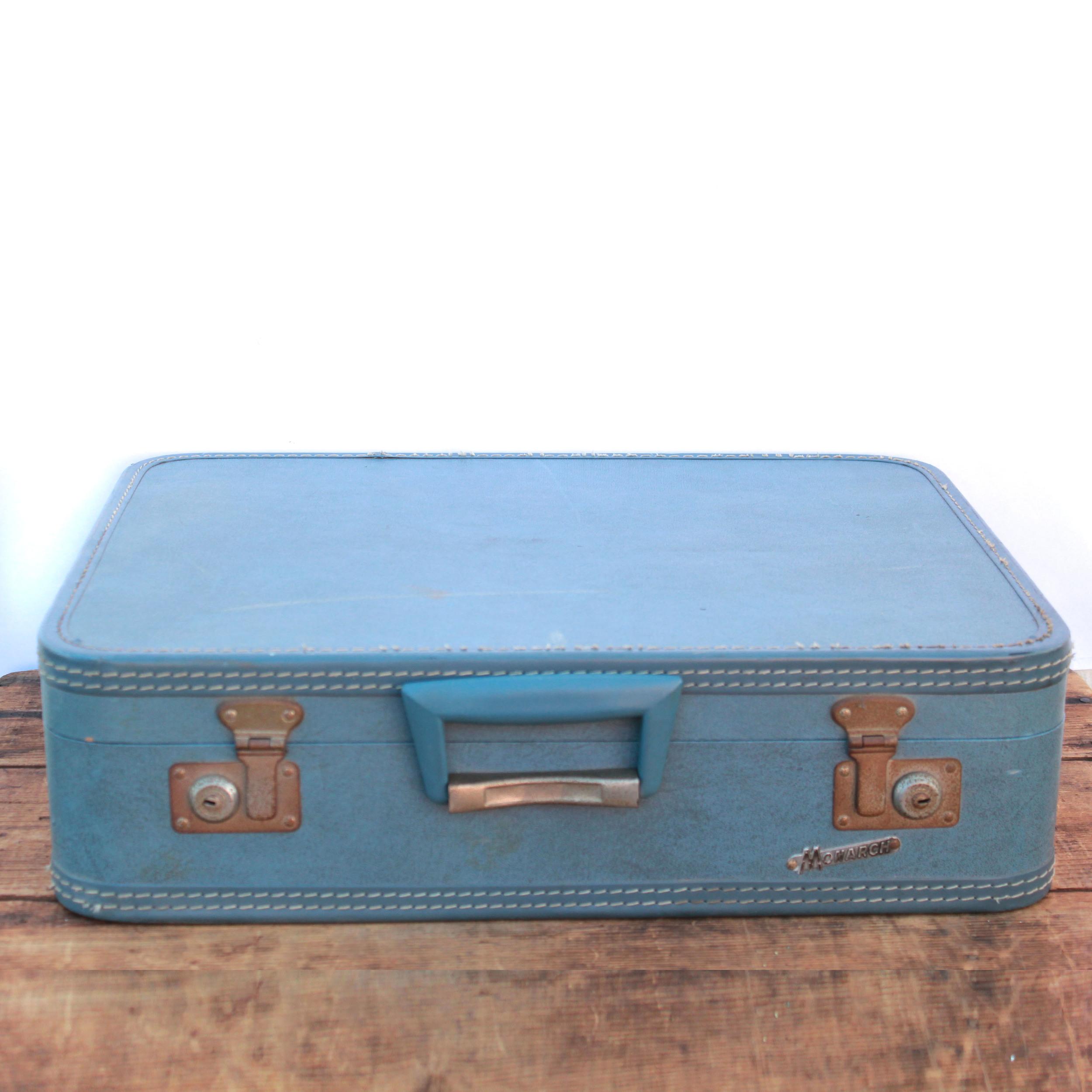 Medium Vintage Blue Suitcase