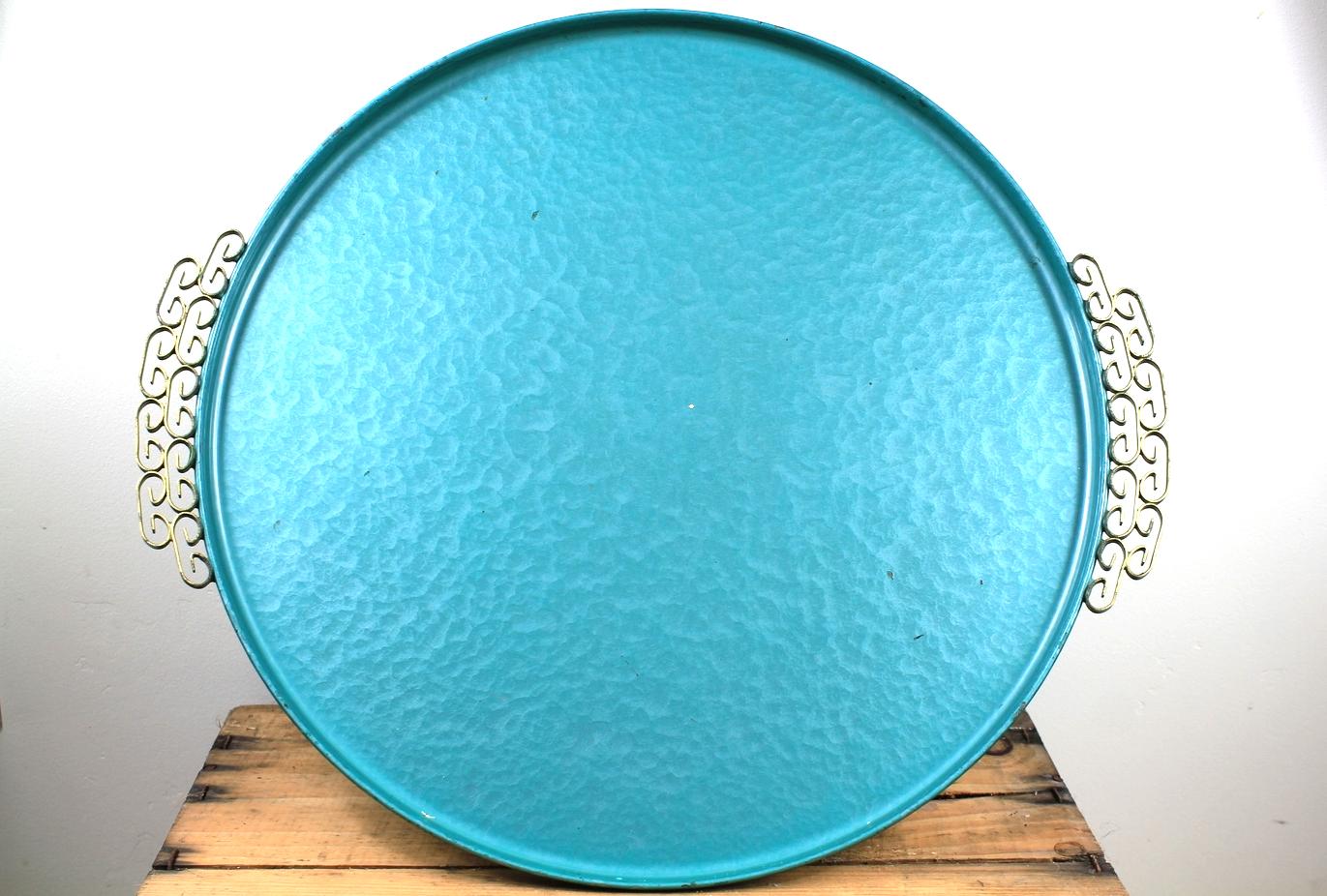 Turquoise Enamel Vintage Tray